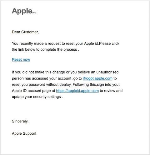アップルを装った迷惑メールの例(英語版)