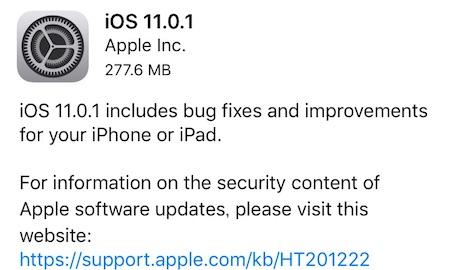 アップルはiPhoneとiPad向けにバグ修正と機能改善した「iOS11.0.1」をリリース