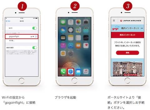 JAL機内インターネットサービスの利用は3ステップで容易に接続可能