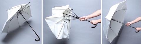 「ポキッと折れるんです」は (1)傘の骨が折れても、(2)閉じて開くだけで、(3)元どおり
