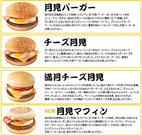 マクドナルド「月見バーガー」の商品ラインナップ(2017年)