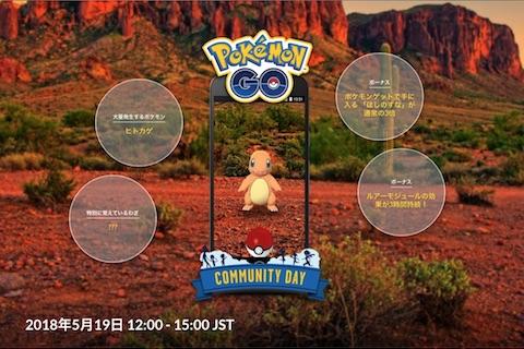 ポケモンGOは5月19日に時間限定でヒトカゲが大量発生する「Pokémon GO コミュニティ・デイ」を開催