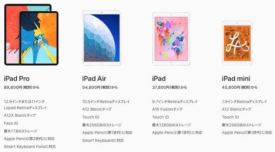 アップル「iPad」のモデルを比較 (2019)