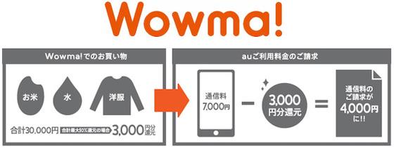 auは総合ショッピングモールWowma!の特典として最大10%還元する「auご利用料金還元」サービスの提供を発表